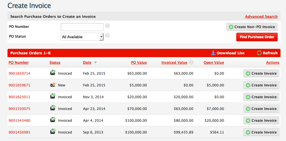taulia support q how do i create an invoice from a purchase order