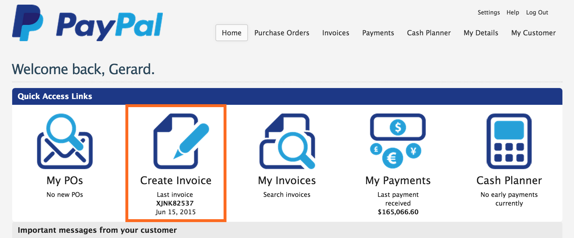 taulia support paypal creating an invoice from a purchase order
