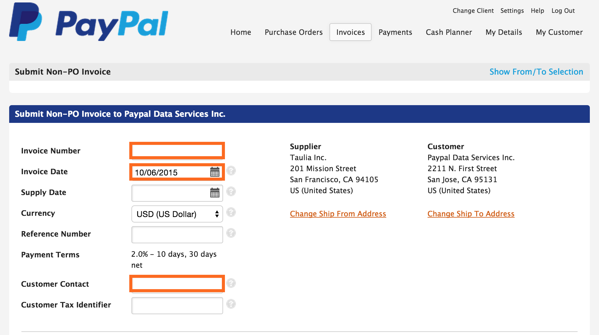 Taulia Support PayPal How To Submit A Nonpo Invoice EForm - What is an invoice paypal