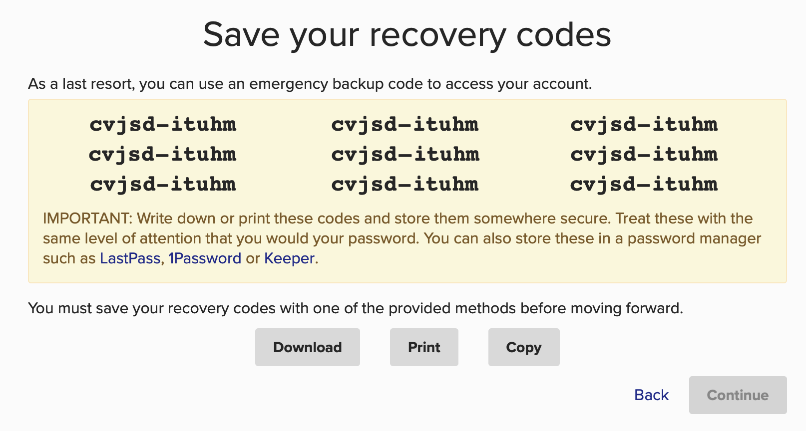 recovery codes review